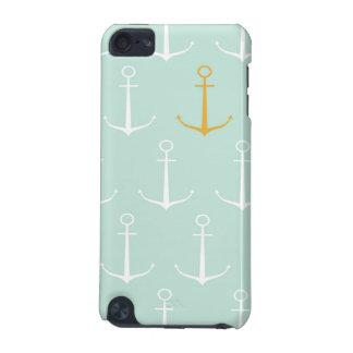 航海のないかりのプレッピーでガーリーで青いいかりパターン iPod TOUCH 5G ケース