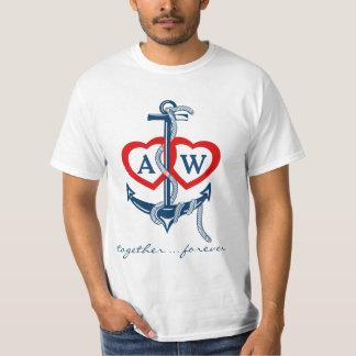 航海のないかりのモノグラムのバレンタインデーのTシャツ Tシャツ