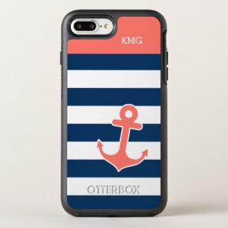 航海のないかりのモノグラム珊瑚海軍ストライプ オッターボックスシンメトリーiPhone 8 PLUS/7 PLUSケース