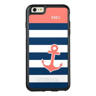 航海のないかりのモノグラム珊瑚海軍ストライプ オッターボックスiPhone 6/6S PLUSケース