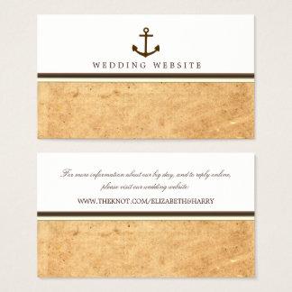 航海のないかりのヴィンテージのペーパー結婚式のウェブサイト 名刺