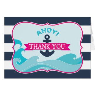 航海のないかりの海洋波のショッキングピンクは感謝していしています カード