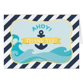 航海のないかりの海洋波海軍ストライプは感謝していしています カード