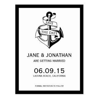 航海のないかりの結婚式の保存日付 ポストカード