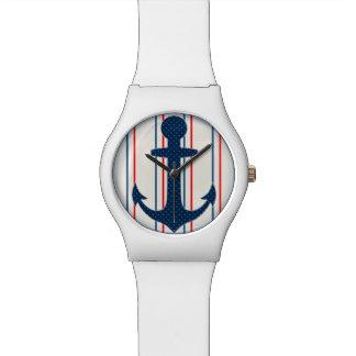 航海のないかりの腕時計の赤い青 ウォッチ