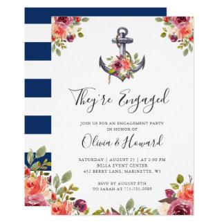 航海のないかりの花の濃紺の婚約パーティ カード