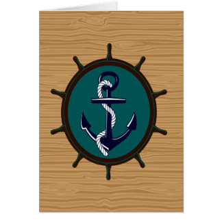 航海のないかりは車輪の舵輪の船員のデザインを出荷します カード