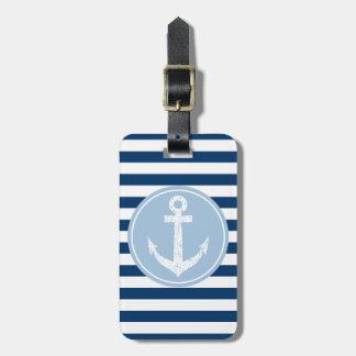 航海のないかり旅行荷物のラベルはとの縞で飾ります ラゲッジタグ