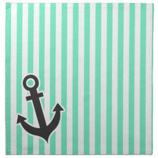 航海のないかり; アクアマリンのSeafoamの緑のストライプ ナプキンクロス