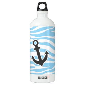 航海のないかり; 空色のシマウマのアニマルプリント ウォーターボトル