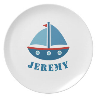 航海のなおもちゃのヨットが付いている名前入りな子供のプレート プレート