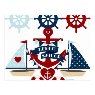 航海のなこんにちはの船員のいかりの帆ボートのデザイン ポストカード