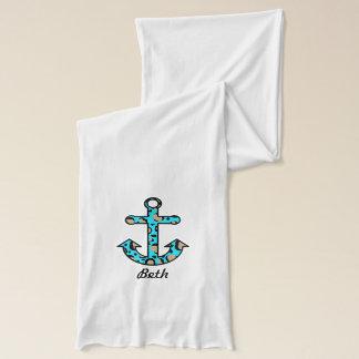 航海のなアニマルプリントの船のいかりのスカーフ スカーフ