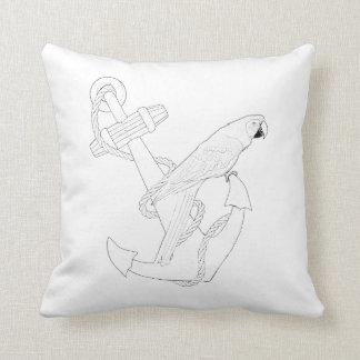 航海のなオウムの大人の着色の枕 クッション