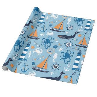 航海のなオーシャンブルーおよびオレンジ ラッピングペーパー