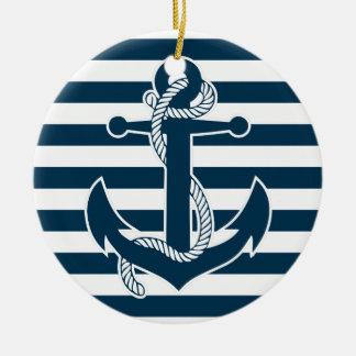 航海のなクリスマスのオーナメントの陶磁器の青いいかり セラミックオーナメント