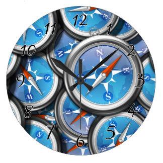 航海のなコンパスの山 ラージ壁時計