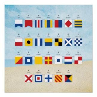 航海のなシグナルフラグのアルファベットおよびビーチ ポスター