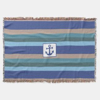 航海のなストライプの投球毛布 スローブランケット
