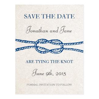 航海のなタイ結び目の結婚式の保存日付(灰色) ポストカード