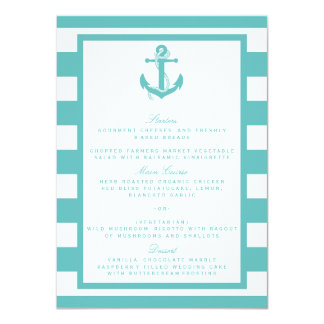航海のなターコイズのストライプのいかりの結婚式メニュー 11.4 X 15.9 インビテーションカード