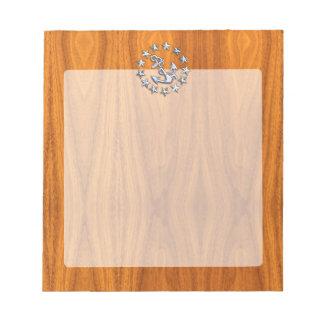 航海のなチークの木製のプリントのヨットの旗の記号 ノートパッド