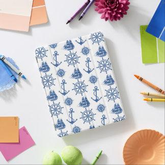 航海のなテーマのいかりの青および白 iPadスマートカバー