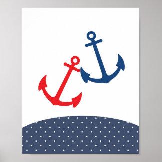 航海のなテーマのための子供部屋のいかりのイラストレーション ポスター