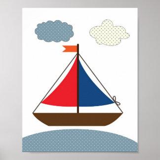 航海のなテーマ部屋のための子供部屋のボートのイラストレーション ポスター