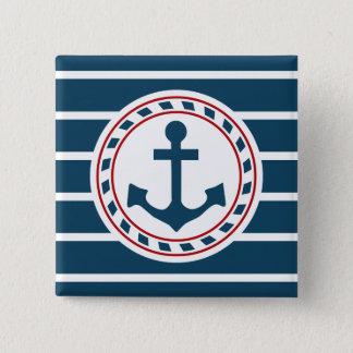 航海のなデザイン 5.1CM 正方形バッジ