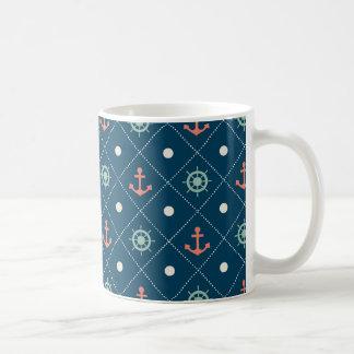 航海のなパターン海軍いかりの舵輪の車輪の帆 コーヒーマグカップ