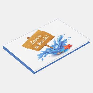 航海のなビーチの印の海洋波の濃紺の結婚式 ゲストブック