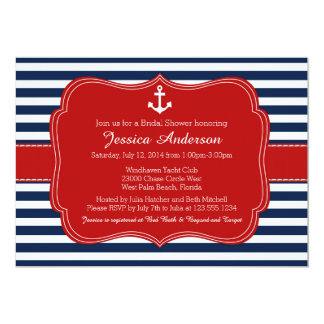 航海のなブライダルシャワーかベビーシャワーの招待状 カード