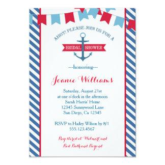 航海のなブライダルシャワーの招待状の赤および青 カード
