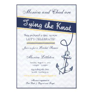 航海のなブライダルシャワーの招待状-ビーチのいかり カード