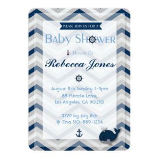 航海のなベビーシャワーの招待状の男の子の青シェブロン カード