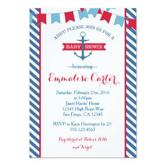 航海のなベビーシャワーの招待状の赤および青 カード