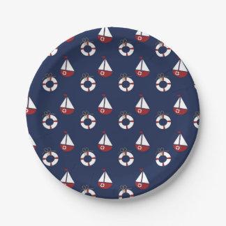 航海のなベビーシャワーの海パターン紙皿 ペーパープレート