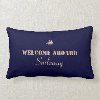 航海のなボートのタンの青い歓迎 ランバークッション