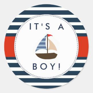 航海のなボートのベビーシャワーのステッカー-それは男の子です! 丸形シール・ステッカー