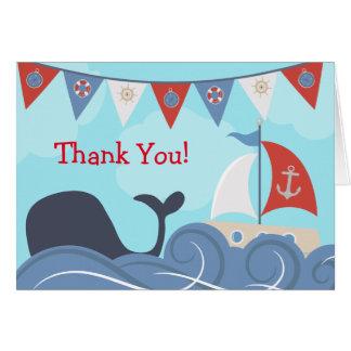 航海のなヨットのビーチの海のクジラは感謝していしています カード