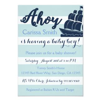 航海のなヨットのベビーシャワーの招待状 カード