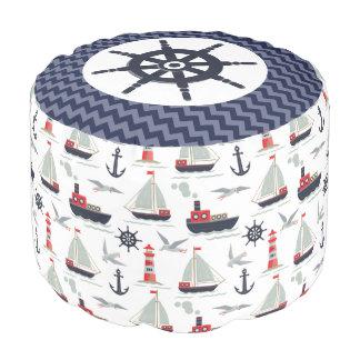 航海のなヨットの船の車輪のベビーの子供部屋の装飾 プーフ
