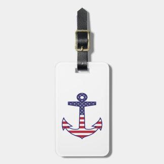 航海のな名前入りな米国旗のいかり ラゲッジタグ