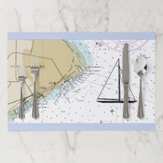 航海のな図表のランチョンマット、港Townsend ペーパーランチョンマット