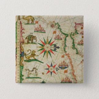 航海のな地図書からの北のアフリカの海岸、 5.1CM 正方形バッジ