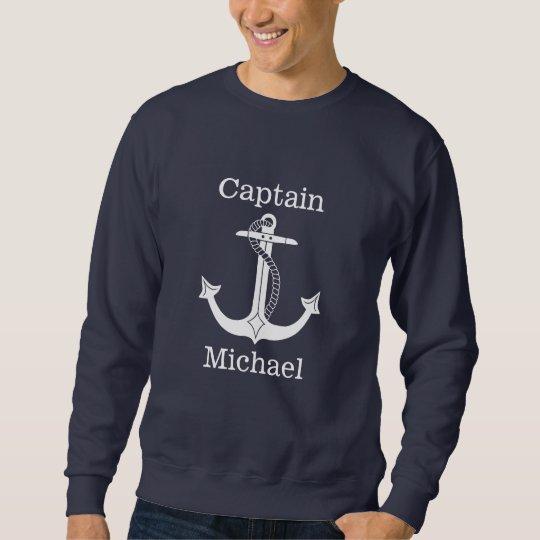 航海のな大尉White Anchor Personalized スウェットシャツ