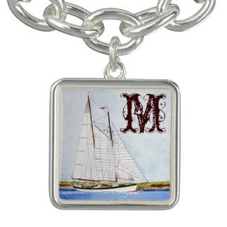 航海のな帆ボートの海の海のモノグラムのブレスレット チャームブレスレット