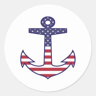 航海のな愛国心が強い米国旗のいかり ラウンドシール