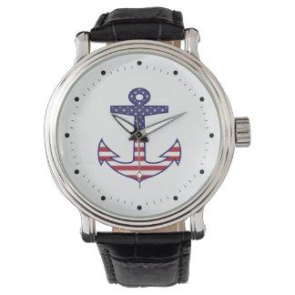 航海のな愛国心が強い米国旗のいかり 腕時計